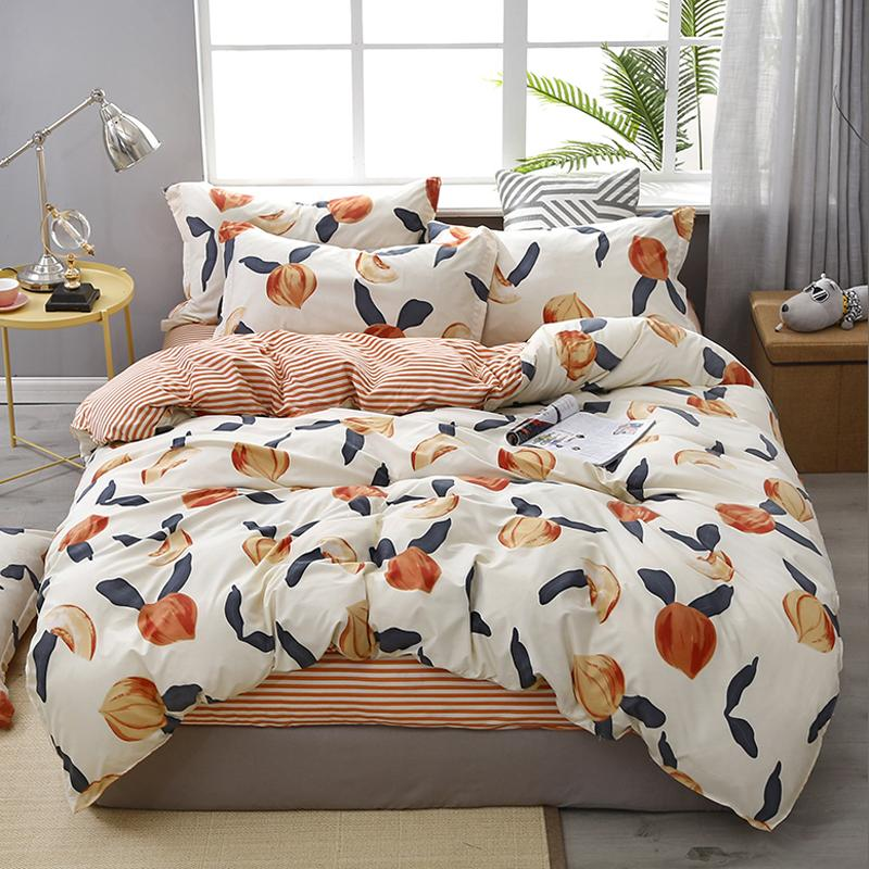 60reactive Printing Peach Home Bed Set Pillowcase Duvet Cover Bedding Set Flat Sheet Bedclothes 3/4pcs Queen King Full Twin Size