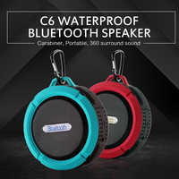 C6 Waterproof Bluetooth-compatible Speaker Big Suction Cup Bluetooth Stereo Outdoor Sports Mini TF Subwoofer Portable Waterproof