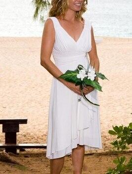2020 Summer Casual Beach High Low Wedding Dresses V Neck Sleeveless Chiffon Tea Length Simple Bridal Gowns Vestidos de Novia