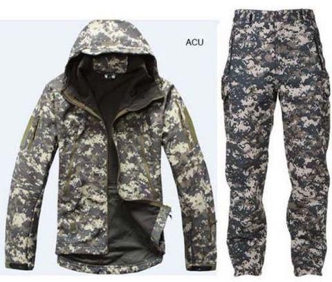 Roupas de Caça 4.0 ao ar lã + Calças Camuflagem Pele Tubarão Casca Macia Lurker Tad v Livre Tático Militar Jaqueta Uniformes Ternos Mod. 96237