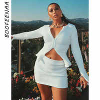BOOFEENAA Ribbed Bodycon Two Piece Set Women Zip Up Crop Top Skirt Matching Sets Fall Fashion Sexy Party Club Outfits for Ladies