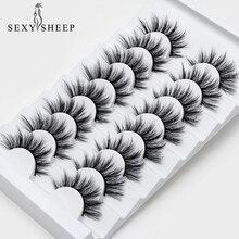 SEXYSHEEP – Faux cils en vison naturel, lot de 5 ou 8 paires dextensions pour les yeux en 3D, grand volume, maquillage de soie