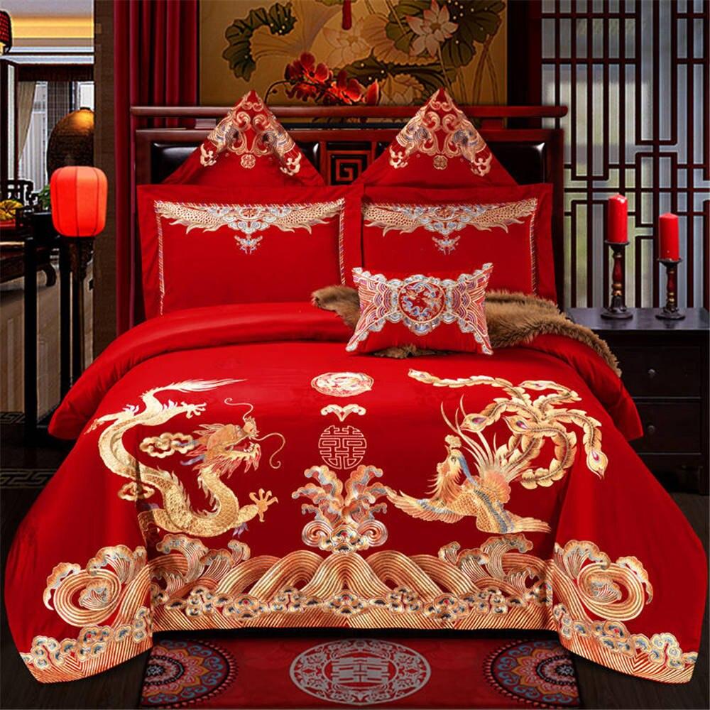 Dragon et phoenix impression ensembles de literie de mariage 100% fabricants de coton vendant des produits housse de couette reine/king size