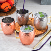 4 Pieces Hammered Copper Plated Moscow Mule Mug 304 Stainless Steel Beer Cup Coffee Cup Copper Plated