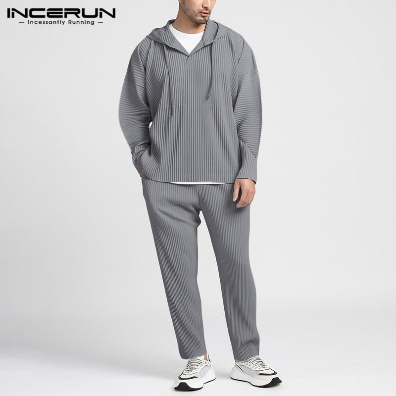 INCERUN Men Sets Solid 2020 Streetwear Long Sleeve Hooded Sweatshirts Pants Loose Folds Casual Men Tracksuit Sets Breathable 5XL
