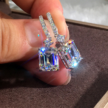 Fashion Female Crystal Square Drop Earrings White Gold Filled White Stone Earrings Boho Wedding Jewelry Long Dangle Earrings все цены