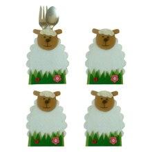4 unids/set ovejas flor diseño cuchillo y tenedor bolsas para vajilla titular cubierta de dibujos animados bolsas para cubiertos de Pascua decoración para fiesta de Navidad