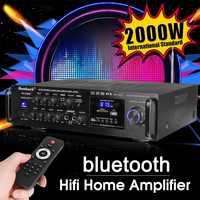 Puissant 2000W 110V 220V bluetooth 4ohm stéréo Audio puissance HiFi amplificateur karaoké amplificateur + RC soutien 2 MIC FM amplificateur de puissance