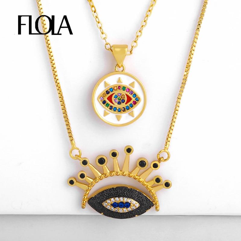 FLOLA 24K oro mal de ojo collar para mujer CZ negro ojo griego colgante joyas Vintage para declaración collar ojo turco nkep74