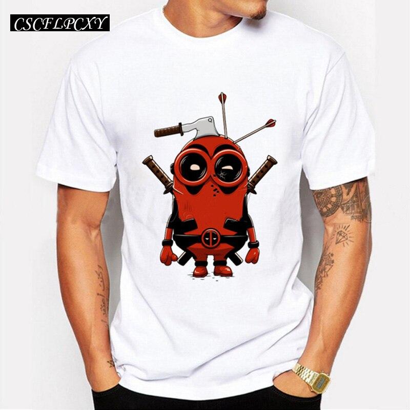 New Arrivals Men Fashion Star Wars T-shirt Deadpool Minion Cartoon Printed Male Tops Funny Hipster Basic Tee Shirts