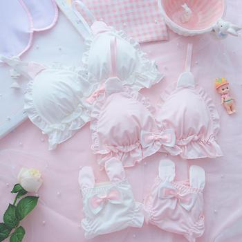 Japanese Sexy Girls Underwear Bras Brief Panties Cute Sweet Rabbit Ears Sexy Lingerie for Small Chest Bra and Panty Set Pink New