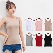 Slim Women Tank Tops Casual Thin V Neck T-Shirt Sleeveless Sleamless Vest NS