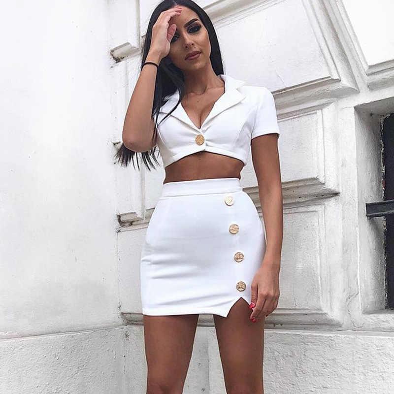 נשים שרוולים קצרים טרייל עם חצאית נשים מזדמנים אופנה שתי חתיכה סטי 2019 אלגנטי 2 חתיכה נשים לבן סט