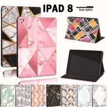 Dla Apple iPad 8 10 2 #8222 2020 (8 Generacji) A2428 A2429 Slim wydrukowano geometria PU skórzany Tablet stojak Folio pokrywy skrzynka tanie tanio FINDING CASE Osłona skóra CN (pochodzenie) For iPad Drukuj 17 4cm Moda For Apple iPad Odporny na wstrząsy Odporność na spadek