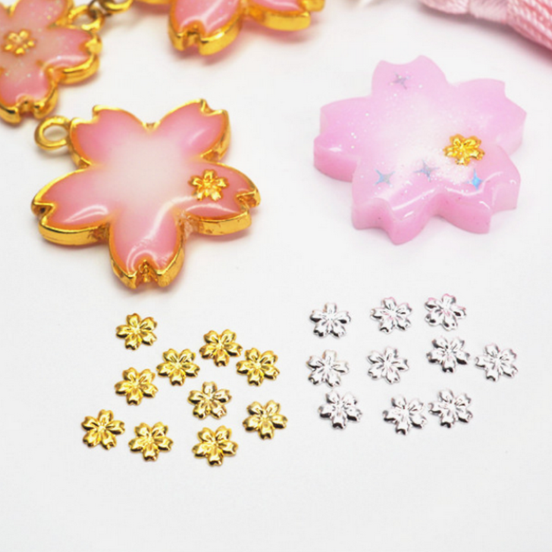 100pcs DIY Stuff Gold Silver Stereo Flower Jewelry Pendant Accessories Charms Handmade UV Resin AB Crystal Glue Seal Craft
