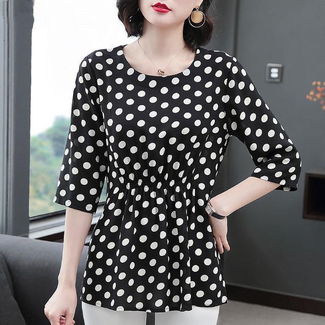 Women Spring Summer Style Chiffon Blouses Shirts Lady Casual Half Sleeve O-Neck Polka Dot Printed Blusas Tops DD8800 5