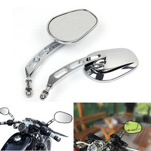 Triclicks Motorcycle Mirror 8MM End Side Rearview Mirrors Motorbike Left&Right Rear View For Harley 1982-Up Black/Chrome