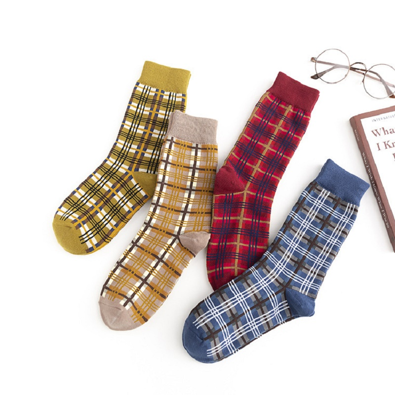 Autumn And Winter New Personality Female Socks Street Cotton Socks Plaid Ladies Socks European And American Tide Socks