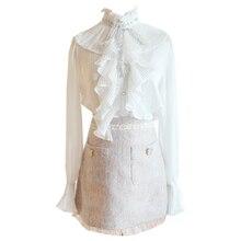 Fall 2019 New Two-Piece Long-Sleeved Falbala Splicing Bind Shirt Packet Buttock Bust Skirt Women Outfit Vogue Set Clothing недорого