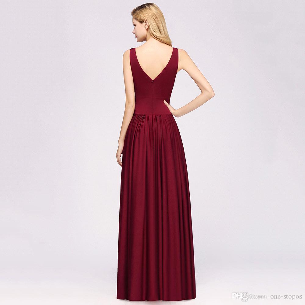 Long Burgundy Bridesmaid Dresses Elegant Wedding Party Guest Gown 2020 Sleeveless robe demoiselle d'honneur Custom Made
