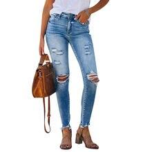 Синие джинсы для женщин рваные с высокой талией женские дырками