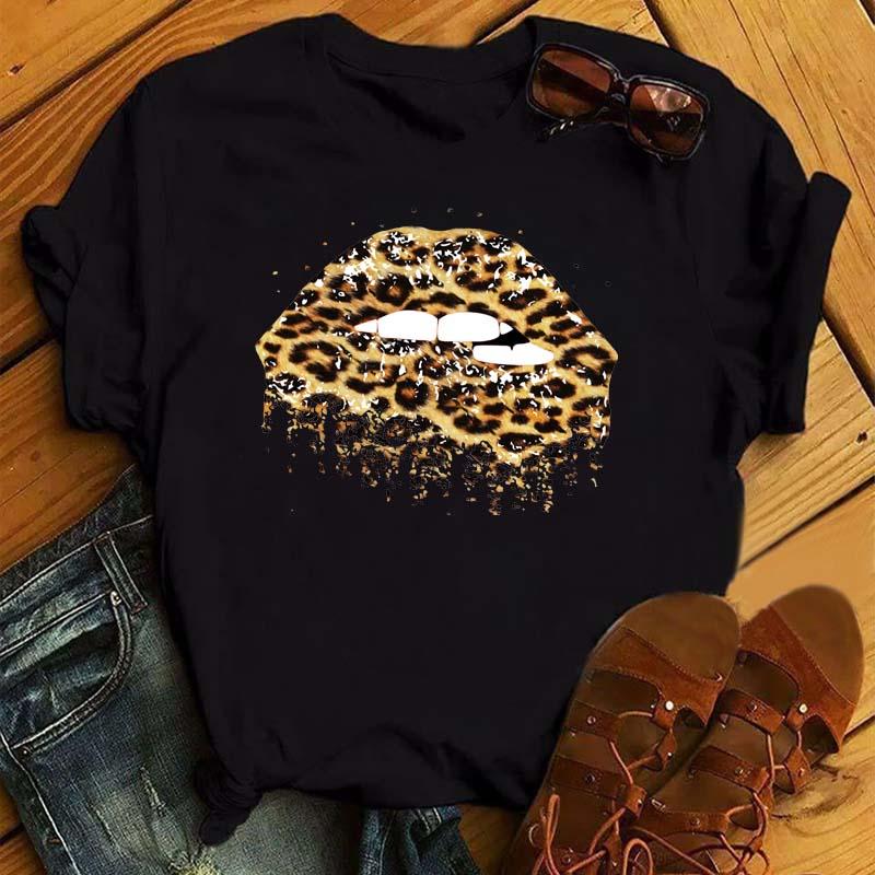 Women Lips Print Half Sleeve T-Shirt Blouse Loose Casual Baggy Tops Tee Shirt UK