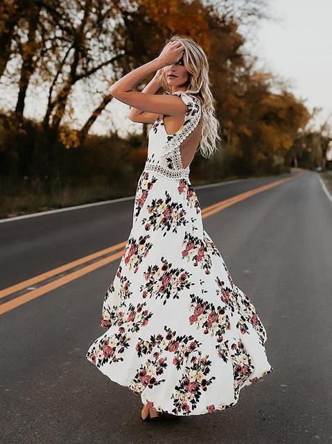 Hot sale Women v-neck short sleeve elegance fitness Summer Vintage Boho Long Maxi Dress Party Beach Dress Floral Sundress 6