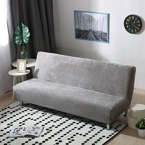 Image 1 - Peluche tissu pli sans bras canapé lit couverture siège pliant housse plus épaisse couvre banc canapé protecteur élastique Futon couverture hiver