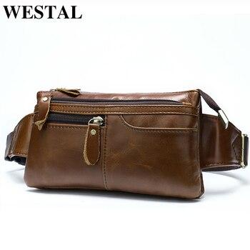 WESTAL Hakiki Deri Göğüs Çanta Deri çanta kemeri Erkekler Telefon kılıflı çanta Seyahat Bel Paketi Erkek Bel çanta kemeri 8943