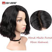 Wignee парик из натуральных волнистых человеческих волос на шнурке для черных/белых женщин 150% Плотность Малазийские Волосы remy без клея боковая часть парик из человеческих волос