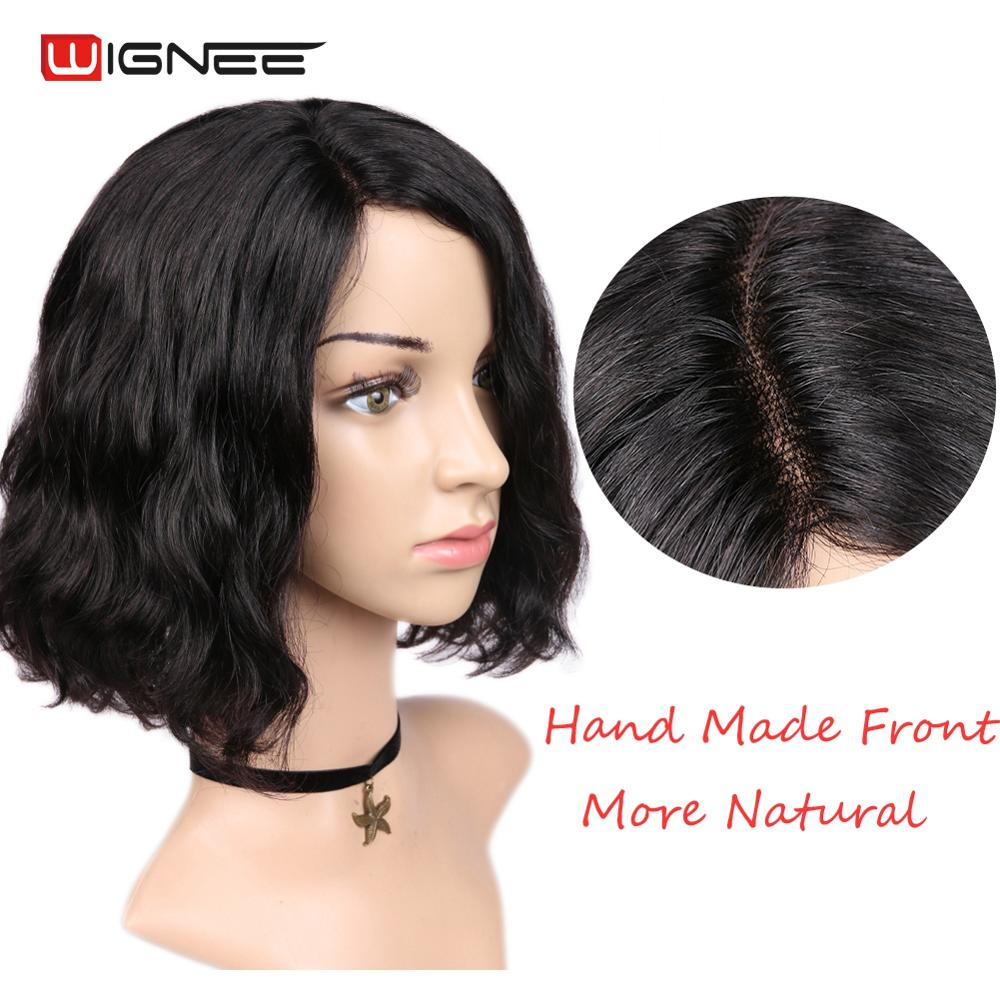 Wignee Lace Part Natural Wave Human Hair Wig For Black/White Women 150% Density Malaysian Remy Hair Glueless Side Part Human Wig