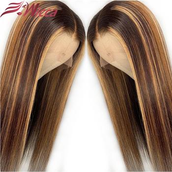 Wicca Highlight 13 #215 6 koronki przodu włosów ludzkich peruki z dziecięcymi włosami 8-26 cali brazylijski Remy włosy bielone węzłów tanie i dobre opinie long Proste Koronki przodu peruk Ludzki włos Pół maszyny wykonane i pół ręcznie wiązanej Ciemniejszy kolor tylko