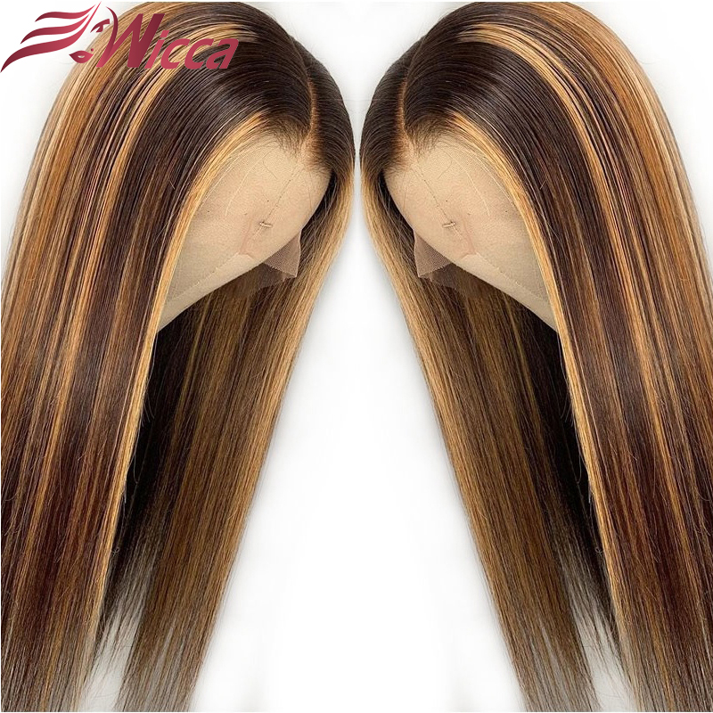 Wicca Highlight 13x4 Lace Front Human Hair Wigs With Baby Hair 8-26 Inches Brazilian Remy Hair Bleached Knots