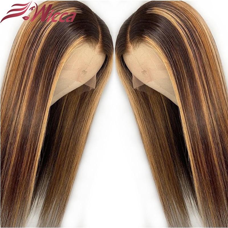 Wicca Highlight 13x6 кружевные передние человеческие волосы парики с детскими волосами 8-26 дюймов бразильские волосы remy отбеленные узлы