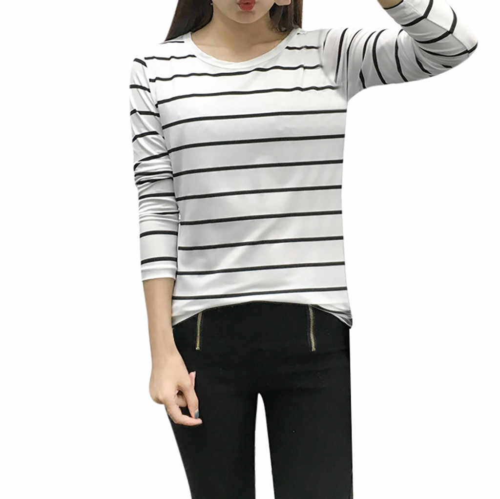 ใหม่ผู้หญิงเกาหลีรุ่นหลวมแขนยาว O-Neck Bottoming เสื้อยืดเสื้อลำลองเสื้อโปโล Camiseta ผู้หญิงด้านบนเสื้อ
