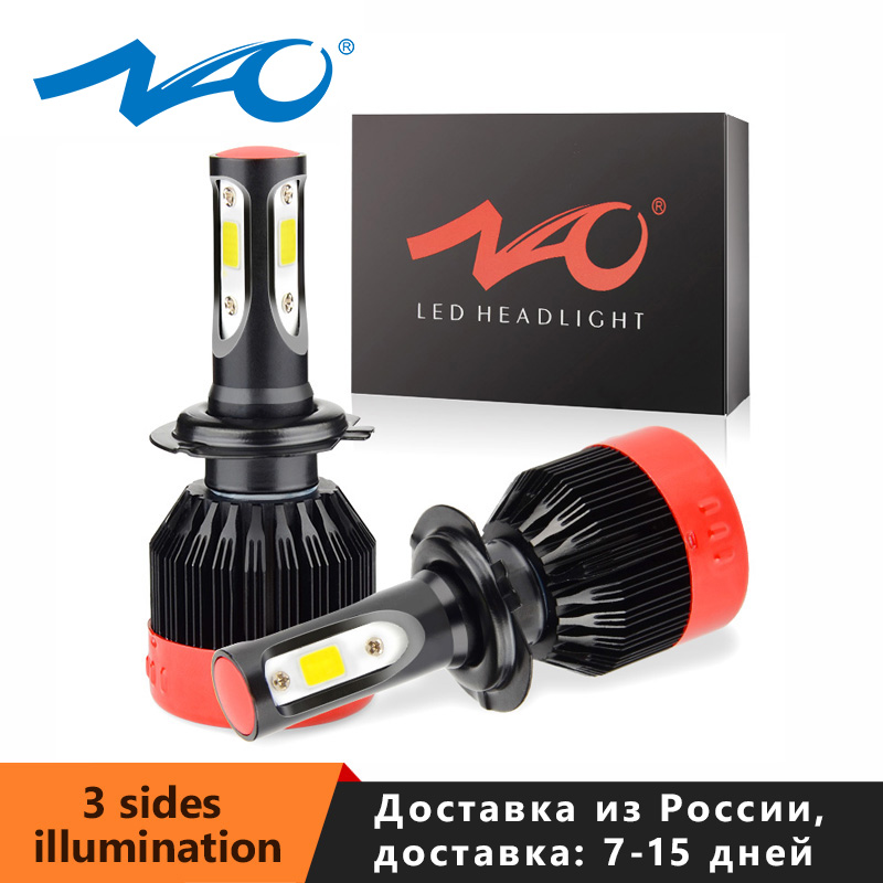 NAO H7 H4 Led H11 H1 Fog Light HB4 Car Headlight Bulb H27 880 881 12V White HB3 9006 H8 9004 9012 Auto Motorcyle Lamp 72W 8400LM