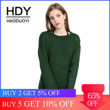 HDY Haoduoyi Women's Green High Low Loose Knit Sweater Rib Crewneck Long Sleeve Sweaters Jumpers Autumn Wram Pullover Tops layered ruffle sleeve rib knit tee