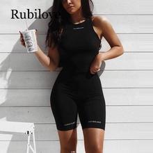 Rubilove Summer biker shorts 2019 High waist women elastic skinny fitness korean casual sexy short Letter print bla