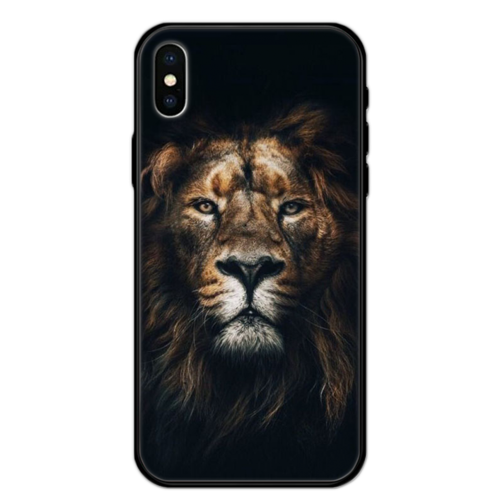 Leão colorido tigre leopardo lobo tpu preto capa do telefone casco para o iphone 5 5S se 5c 6s 7 8 plus x xs xr 11 pro max