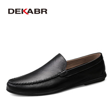 DEKABR Italian Mens Shoes Casual Luxury Brand Summer Men Loafers Split Leather Moccasins Comfy Breathable Slip On Boat Shoes