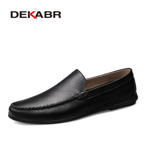 Image 1 - DEKABR Italian Mens Shoes Casual Luxury Brand Summer Men Loafers Split Leather Moccasins Comfy Breathable Slip On Boat Shoes