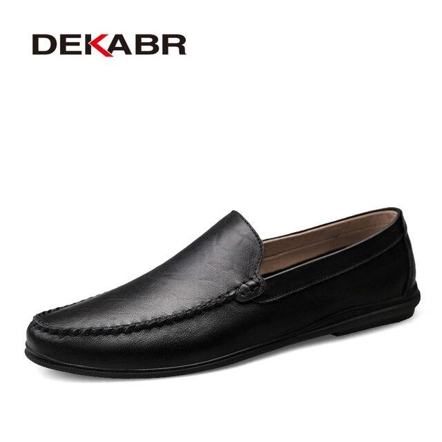 DEKABR İtalyan erkek ayakkabı rahat lüks marka yaz erkek mokasen ayakkabıları bölünmüş deri Moccasins rahat nefes tekne ayakkabı üzerinde kayma
