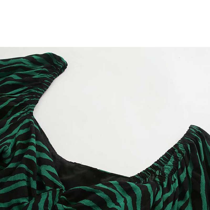 ZOEPO ZEBRA พิมพ์ชุดเดรสผู้หญิงแฟชั่นสแควร์พับคอชุดผู้หญิงพัฟแขนหญิงสุภาพสตรี JU