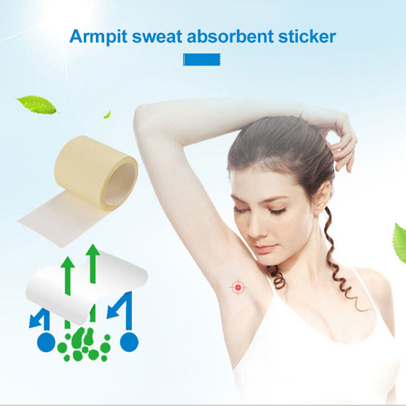 New 1Roll 6M Disposable Prevent Sweat Pads Dry Antiperspirant Sticker Ultra-thin Keep Dry Stickers Shield Underarm Armpits Sweat