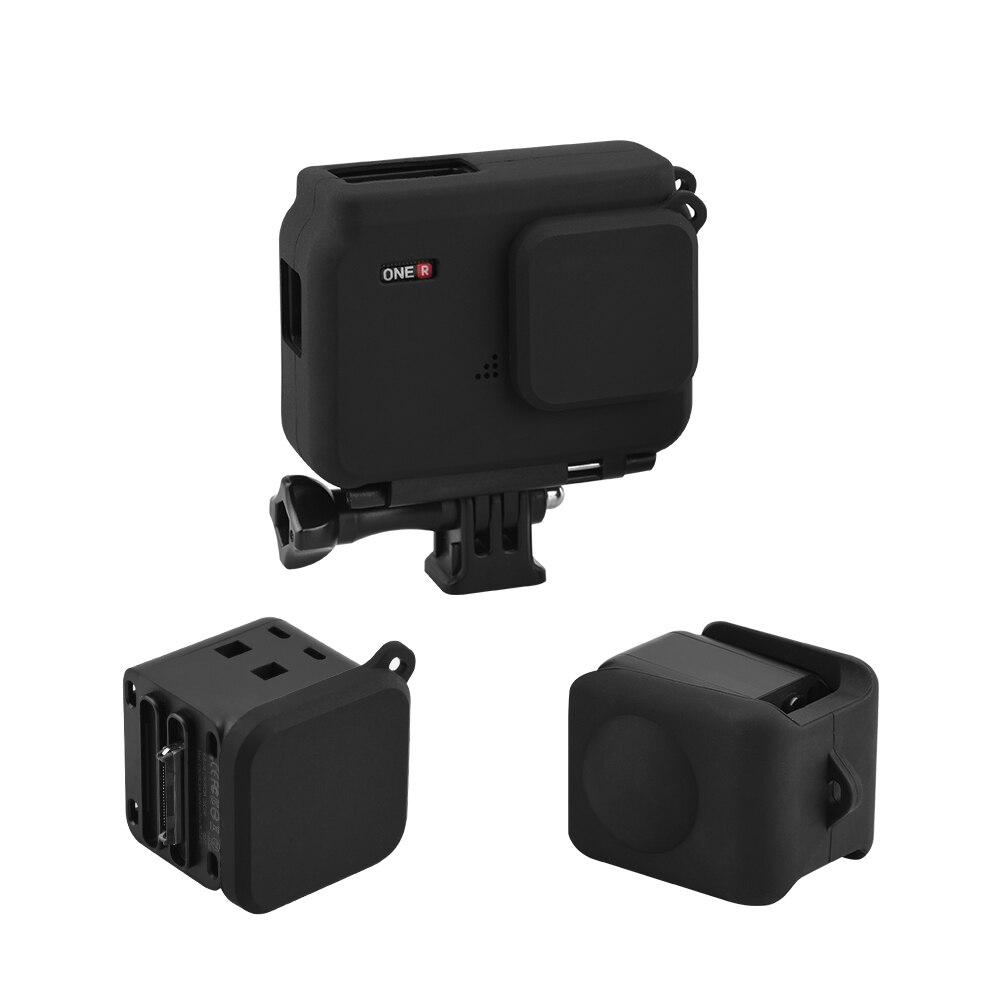 Capa protetora à prova de poeira de silicone para insta360 um r twin edition 4k ângulo 360 panorama lente tampa ação câmera acessório