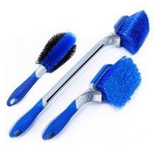 Brosse de nettoyage de pneu de voiture, brosse de moyeu de roue de lavage de voiture à Long manche 3 pièces/ensemble