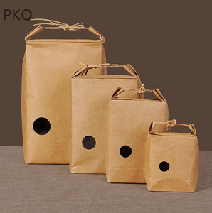 Image 5 - 20pcs Kraft Paper Packaging Bag With Handle Tea Food Package Paper Box Event Party Favor Gift Storage Bag
