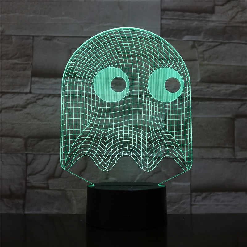 아케이드 게임 pac 남자 blingy 유령 3d 밤 램프 테이블 7 색 변경 참신 조명 소년 아이 아이 선물 pacman led nigh light