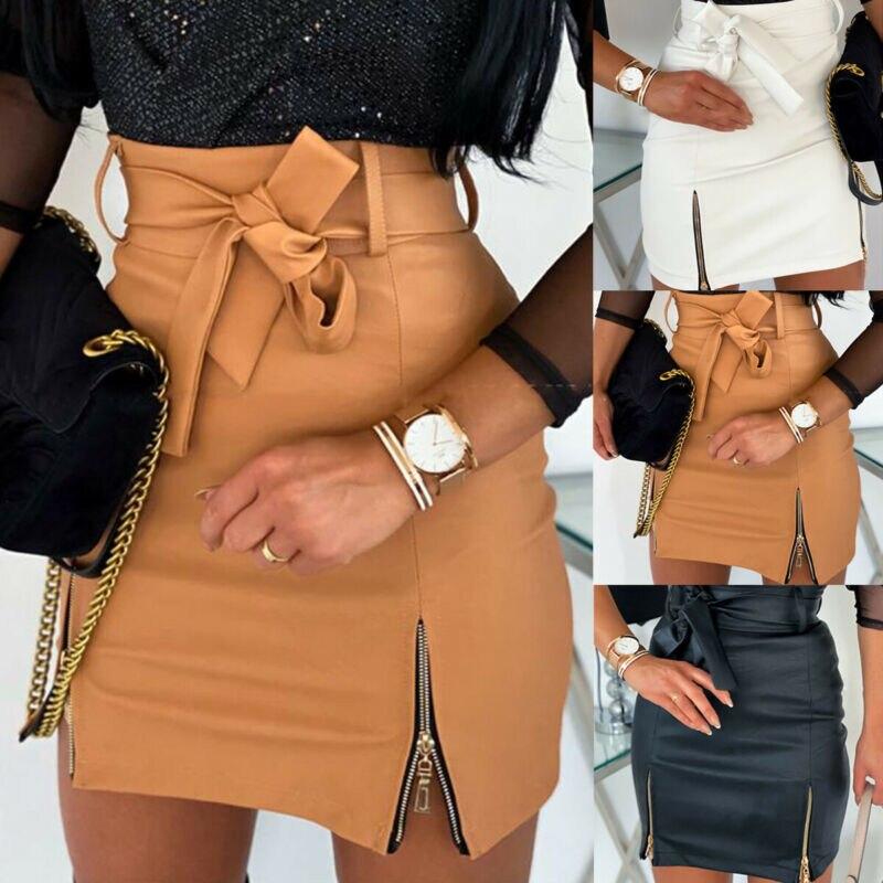 Brand New Women Sexy PU Leather Bandage Mini Skirt Ladies High Waist Zipper Pencil Skirts Female Bandage Slim Office Wear