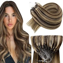 VeSunny Remy Micro Loop Human Hair Extensions Micro Beads Hair Silky Soft Micro Ring Hair Extensions 1g/strand 50g